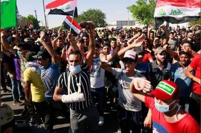 تجمع اعتراضی در شمال بغداد
